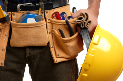 The typical toolbelt of a handyman contractor.
