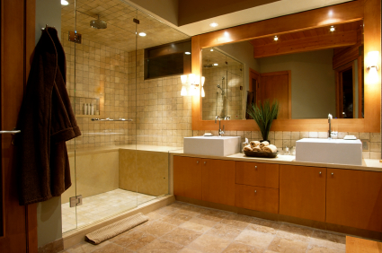 A newly remodeled contemporary bathroom.