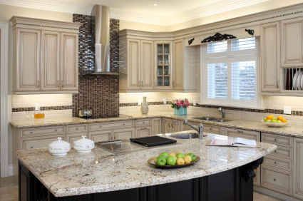 A modern kitchen with newly replaced countertops.